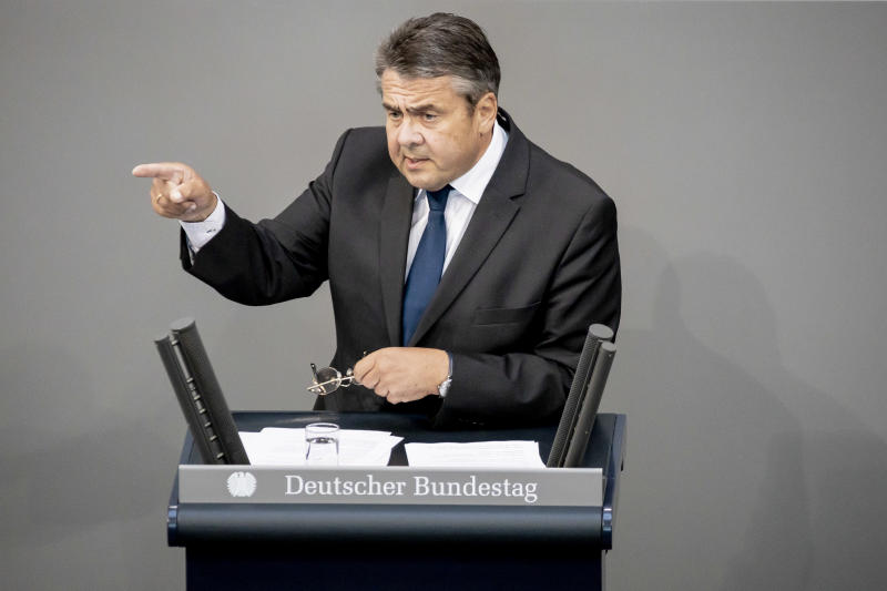 27 June 2019, Berlin: Sigmar Gabriel (SPD), member of the German Bundestag, speaks in the plenum of the Bundestag at a current hour about measures against hatred and right-wing extremist violence. On the agenda are, among other things, the reform of the property tax, the change of the citizenship law, a current hour on measures against hatred and right-wing extremist violence and the investigative committee of the Treuhandanstalt. Photo: Christoph Soeder/dpa (Photo by Christoph Soeder/picture alliance via Getty Images)