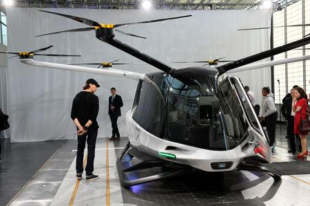 Alaka'i Technologies unveils a model of a working prototype of Skai, a hydrogen fuel cell powered multi-rotor aircraft the company designed to carry up to five passengers, during an event in Newbury Park, California, U.S., May 29, 2019.  REUTERS/Andrew Cullen