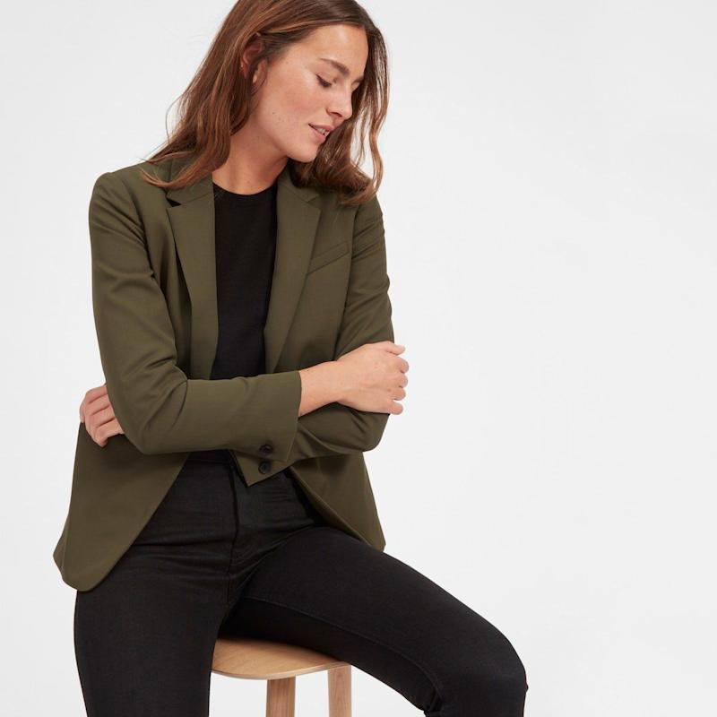 """Get it at <a href=""""https://www.everlane.com/products/womens-italian-goweave-classic-blazer-surplus?collection=womens-bestsellersv2"""" target=""""_blank"""">Everlane</a>."""