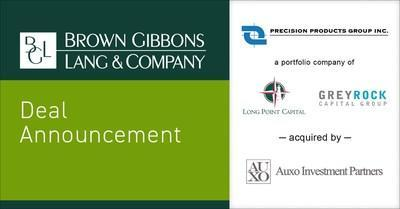 Brown Gibbons Lang & Company (BGL) is pleased to announce the sale of Precision Products Group, Inc. (PPG), a portfolio company of Long Point Capital and Greyrock Capital Group, to Auxo Investment Partners (Auxo). BGL served as the exclusive financial advisor to PPG in the transaction; the specific terms of the transaction were not disclosed.