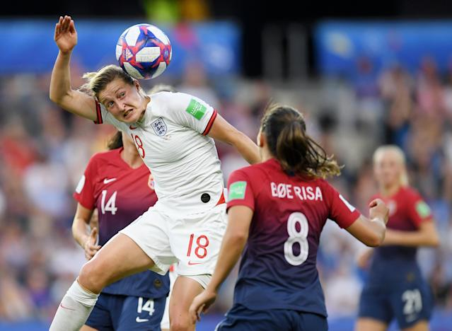 Ellen White of England wins a header during the 2019 FIFA Women's World Cup France Quarter Final match between Norway and England at Stade Oceane on June 27, 2019 in Le Havre, France. (Photo by Alex Caparros - FIFA/FIFA via Getty Images)