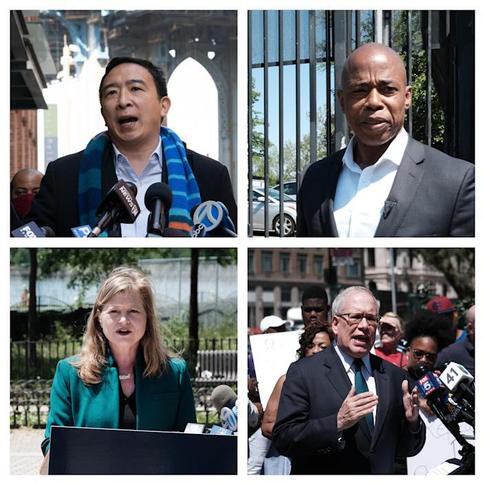 Andrew Yang, Eric Adams, Kathryn Garcia and Scott Stringer / Credit: AP / Getty Images / Getty Images / Getty Images