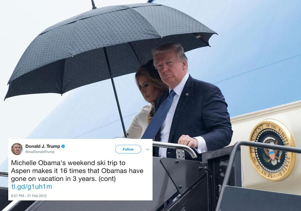 <p>In 2012, Trump tweeted 'Who else could take 16 vacations, play over 100 rounds of golf and hold over 300 fundraisers while serving as POTUS besides @BarackObama–& not one jobs meeting.' According to FactCheck.org, by the end of August Trump had taken three times as much holiday as Obama – 53 days, compared to Obama's 19. (Getty) </p>