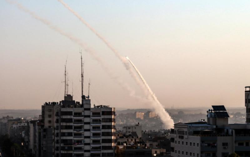 Palestinian rockets are being fired from Gaza city on November 12, 2019: AFP via Getty