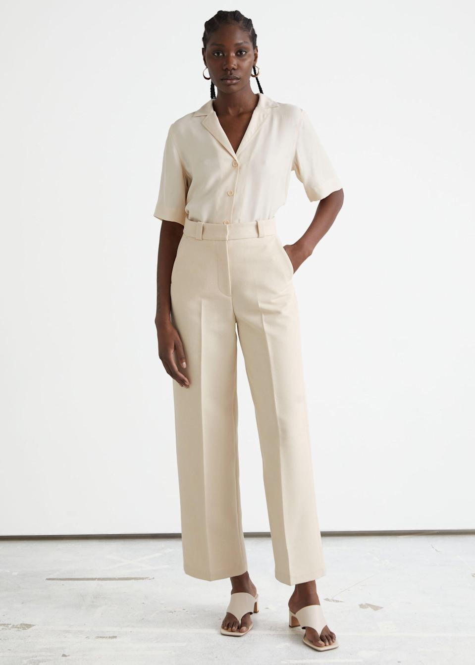 <p>Style these <span>&amp; Other Stories Wide Press Crease Trousers</span> ($79) with a short-sleeved blouse for an elevated look.</p>