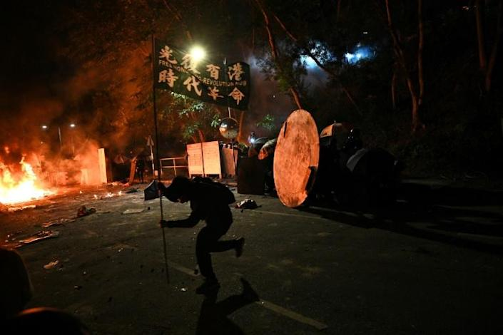 Clashes raged into the night on the Chinese University campus (AFP Photo/Philip FONG)