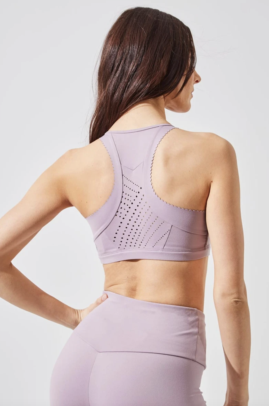 Ecstatic Recycled Polyester Medium Support Bra in Dusty Purple (Photo via MPG)