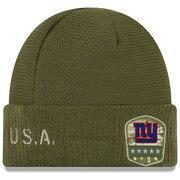 Youth New Era Olive New York Giants 2019 Salute to Service Sideline Cuffed Knit Hat