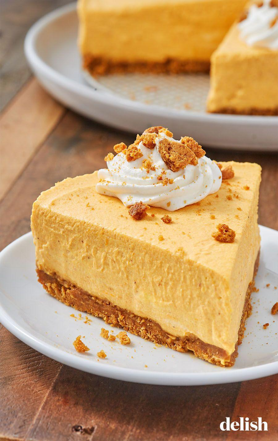 """<p>The gingersnap crust is to die for. </p><p>Get the recipe from <a href=""""https://www.delish.com/cooking/recipe-ideas/a28497825/easy-no-bake-pumpkin-cheesecake-recipe/"""" rel=""""nofollow noopener"""" target=""""_blank"""" data-ylk=""""slk:Delish"""" class=""""link rapid-noclick-resp"""">Delish</a>.</p>"""