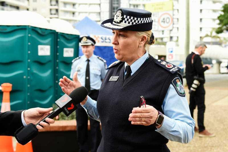 Queensland Police Commissioner Katarina Carroll speaks to media at Griffith Street checkpoint at Coolangatta on the Gold Coast.