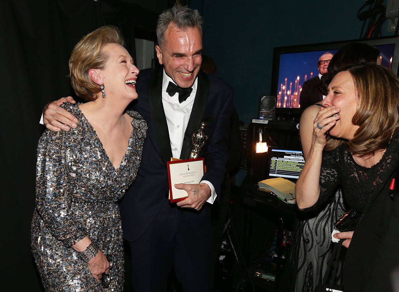 Meryl Streep, and winner of Best Actor Daniel Day-Lewis backstage during the Oscars held at the Dolby Theatre on February 24, 2013 in Hollywood, California.