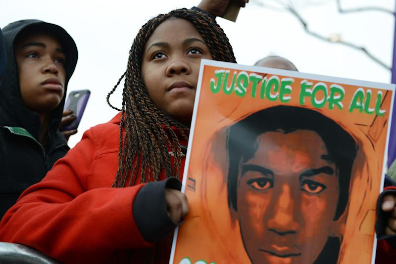 Tatianna Taylor, 14, of Queens, New York holds a Trayvon
