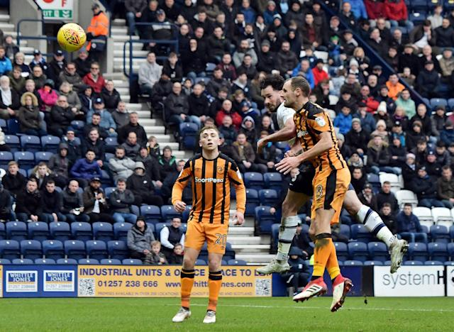"Soccer Football - Championship - Preston North End vs Hull City - Deepdale, Preston, Britain - February 3, 2018 Preston's Greg Cunningham scores their first goal Action Images/Paul Burrows EDITORIAL USE ONLY. No use with unauthorized audio, video, data, fixture lists, club/league logos or ""live"" services. Online in-match use limited to 75 images, no video emulation. No use in betting, games or single club/league/player publications. Please contact your account representative for further details."