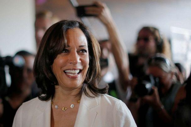 PHOTO: Democratic 2020 U.S. presidential candidate and U.S. Senator Kamala Harris makes a campaign visit to the Narrow Way Cafe and Shop in Detroit, Michigan, July 29, 2019. (Brian Snyder/Reuters)