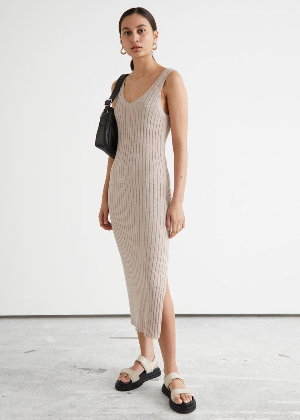 <p>This sleeveless <span>&amp; Other Stories Rib Knit Midi Dress</span> ($89) is the answer to your everyday fashion dilemma when you're just stuck on what to wear to the beach or to hang out with friends. With its ribbed finish and side slit, it looks chic and flattering.</p>