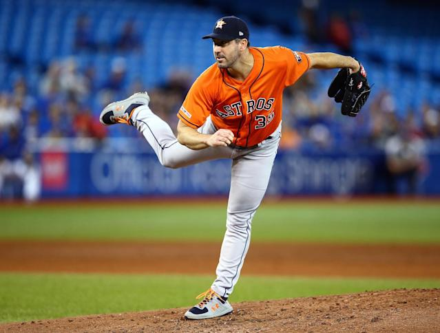Houston Astros pitcher Justin Verlander submitted a 14-strikeout no-hitter against the Toronto Blue Jays. (Vaughn Ridley/Getty Images)
