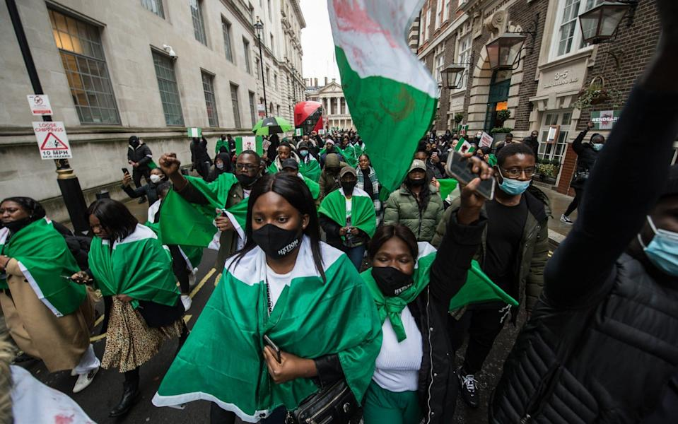 Protestors chant slogans outside the Nigerian High Commission in London - Getty Images Europe