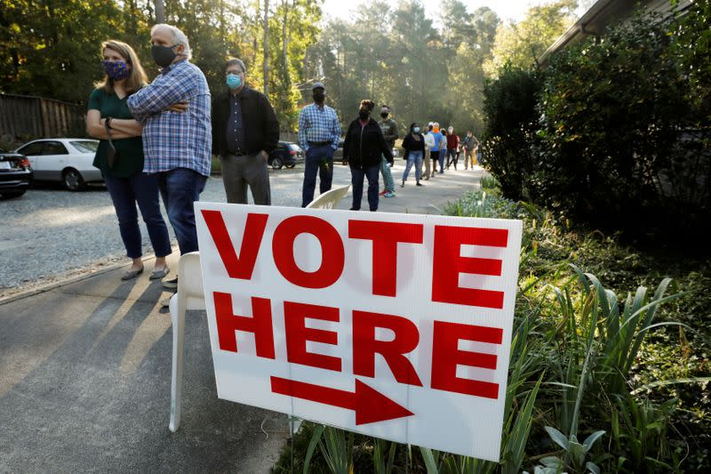 FILE PHOTO: First day of in-person early voting for the national elections in Durham, North Carolina
