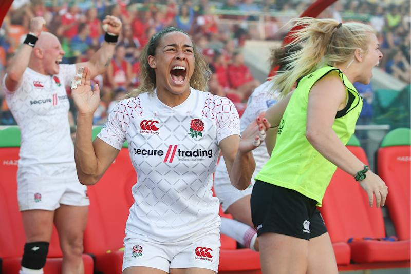 England's Ellie Kildunne celebrates securing Team GB's qualification for the women's rugby sevens competition at Tokyo 2020