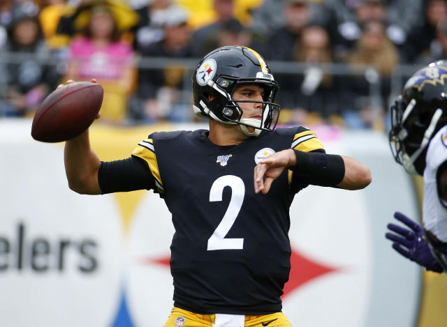 Steelers quarterback Mason Rudolph was knocked unconscious and hospitalized after taking a rough hit during their game against the Ravens on Sunday. (Getty Images)
