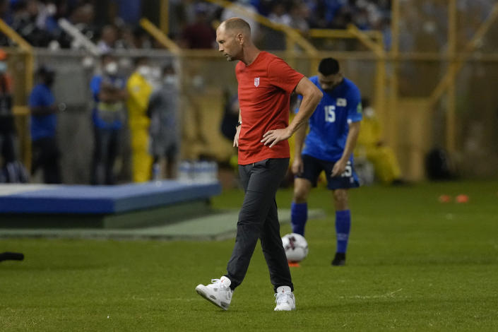 United States' coach Gregg Berhalter walks on the sideline during a qualifying soccer match against El Salvador for the FIFA World Cup Qatar 2022 at Cuscatlan stadium in San Salvador, El Salvador, Thursday, Sept. 2, 2021. (AP Photo/Moises Castillo)