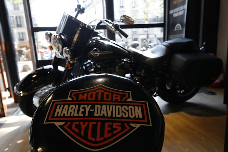 The logo of U.S. motorcycle company Harley-Davidson is seen on one of their models at a shop in Paris, France, August 16, 2018. REUTERS/Philippe Wojazer