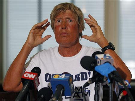 U.S. long-distance swimmer Diana Nyad, 64, who completed her swim from Cuba to Key West, Florida, speaks at a news conference on Stock Island, in this September 3, 2013, file photo. REUTERS/Andrew Innerarity/Files