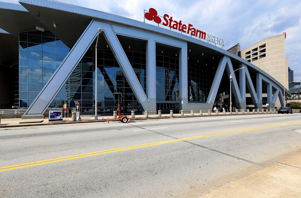 Architects Populous' (previously HOK Sport) State Farm Arena, home of the Atlanta Falcons basketball team and WNBA Atlanta Dream basketball team in Atlanta, Georgia on July 28, 2019.  MANDATORY MENTION OF THE ARTIST UPON PUBLICATION - RESTRICTED TO EDITORIAL USE.  (Photo By Raymond Boyd/Getty Images)