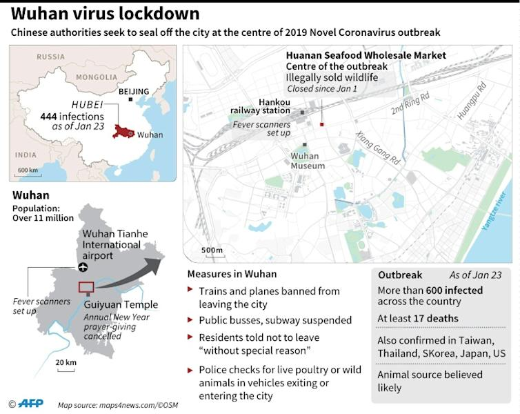 Graphic on Wuhan where China has warned against travel to or from the virus-stricken city