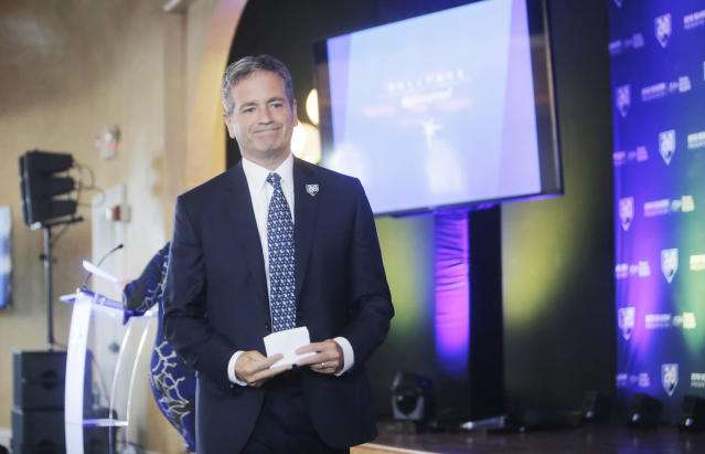 Tampa Bay Rays owner Stuart Sternberg leaves the podium after speaking in front of a packed audience during the unveiling ceremony of the new ballpark design held at the Italian Club in the Ybor City neighborhood in Tampa, Fla., Tuesday, July 10, 2018. (Octavio Jones/The Tampa Bay Times via AP)