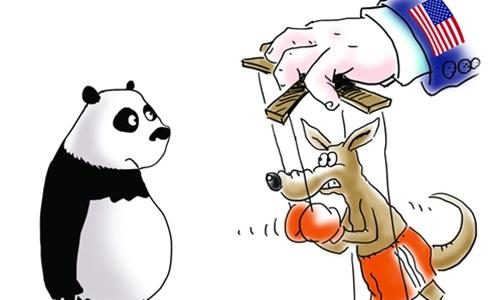 The Global Times cartoon depicting Australia as a puppet of the US in its conflict with China. Source: Global Times