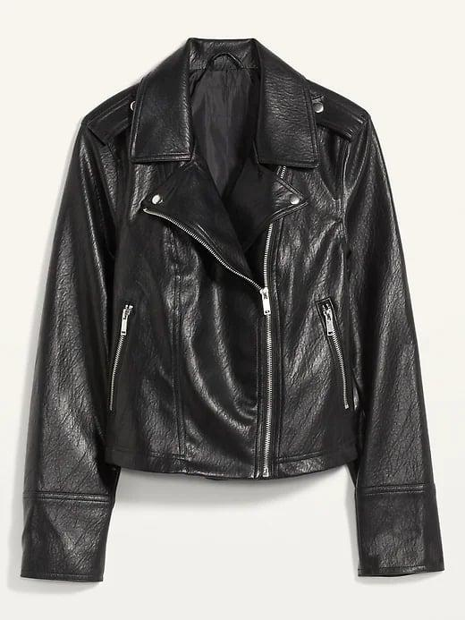 <p>A black leather jacket is simply iconic and this <span>Old Navy Faux-Leather Zip-Pocket Moto Jacket</span> ($40, originally $60) si now more affordable than ever.</p>