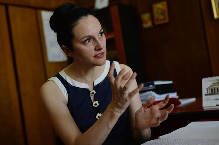Alina Bica, head of the Prosecutor's Office against Organized Crime and Terrorism, during an interview with AFP in Bucharest on July 12, 2014 (AFP Photo/Daniel Mihailescu)