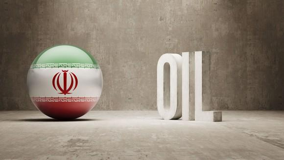 A sphere with the Iranian flag next to the word oil.