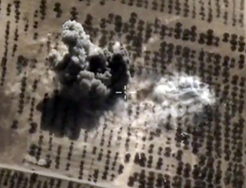 A video image of an explosion after air strikes carried out by Russian warplanes in the Syrian province of Idlib