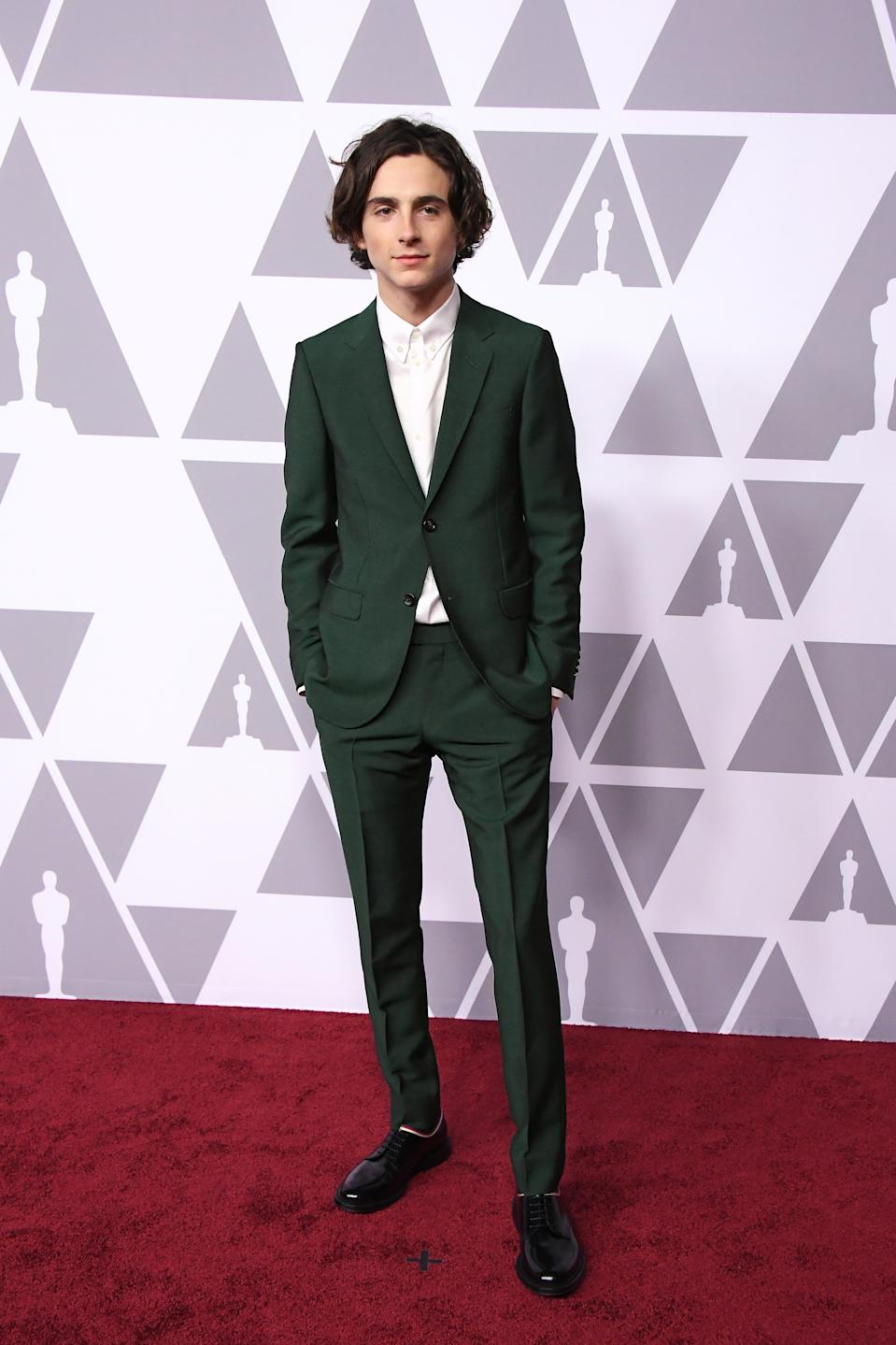 Wearing an emerald green Gucci suit. <em>[Photo: Getty]</em>