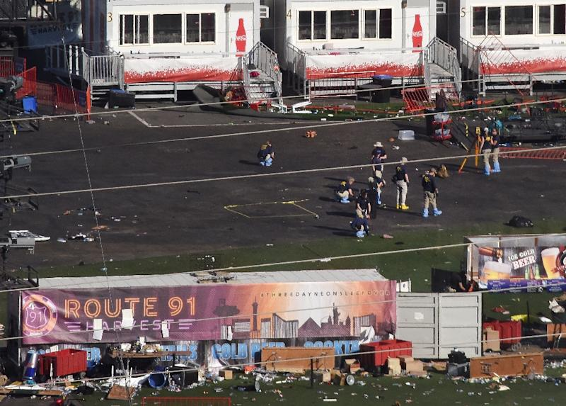 FBI investigators continue work at Las Vegas Village, site of the worst mass murder in modern US history, where shooter Stephen Paddock used semi-automatic weapons which he modified with so-called bump stocks to dramatically boost their rate of fire (AFP Photo/Robyn Beck)
