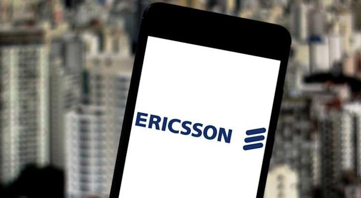 Ericsson (ERIC) logo on a smartphone screen.