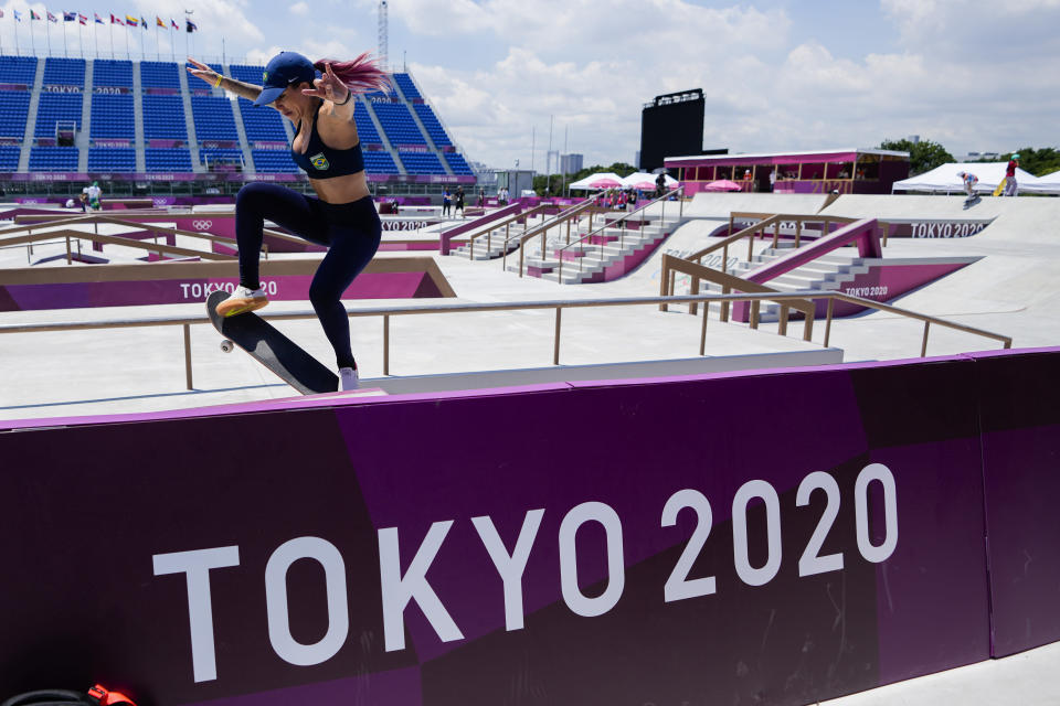 Brazil's Pamela Rosa trains during a street skateboarding practice session at the 2020 Summer Olympics, Friday, July 23, 2021, in Tokyo, Japan. (AP Photo/Markus Schreiber)