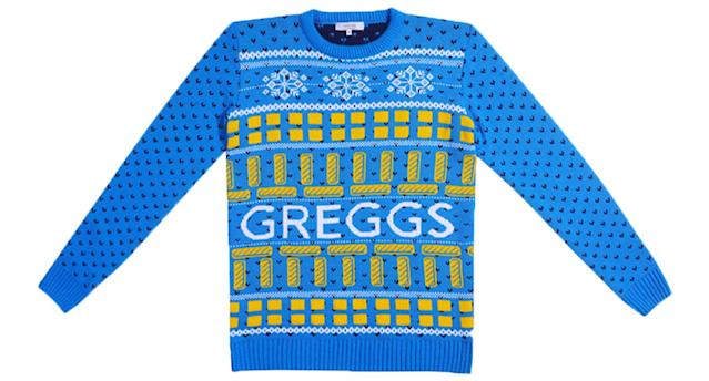 The Greggs festive knit is the ideal ugly Christmas jumper for 2019 [Photo: Not Just Clothing]