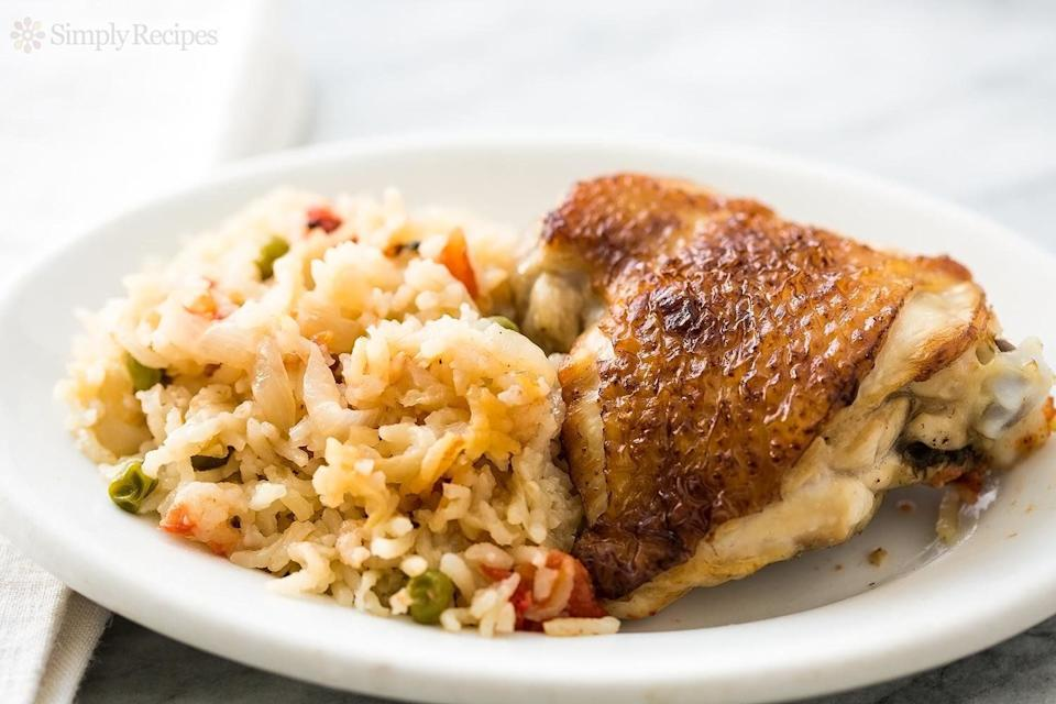 """<strong>Get the <a href=""""https://www.simplyrecipes.com/recipes/slow_cooker_chicken_rice_casserole/"""" target=""""_blank"""">Slow Cooker Chicken Rice Casserole</a> recipe from Simply Recipes</strong>"""