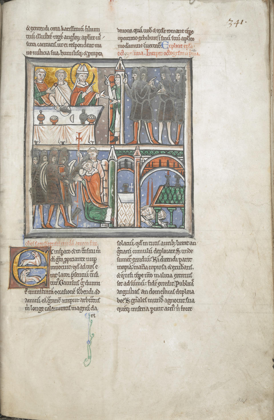 Illumination showing Becket's martyrdom (The British Library)