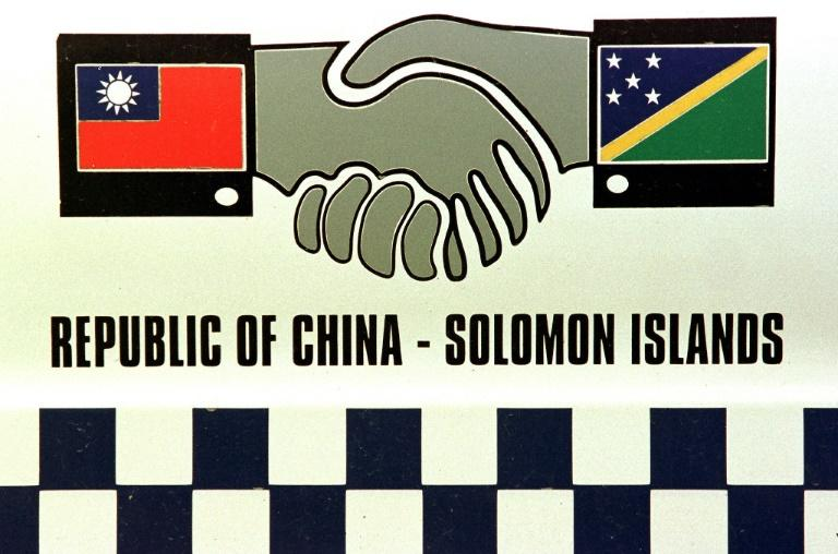 The flags of Taiwan and the Solomon Islands adorned the sides of some police cars in Honiara during friendlier days in the late 1990s (AFP Photo/TORSTEN BLACKWOOD)