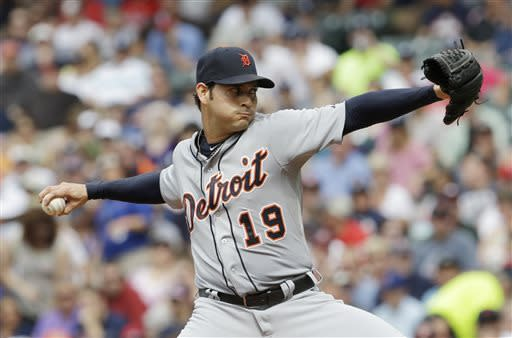 Detroit Tigers starting pitcher Anibal Sanchez delivers a pitch against the Cleveland Indians in the first inning of a baseball game, Saturday, July 6, 2013, in Cleveland. (AP Photo/Tony Dejak)