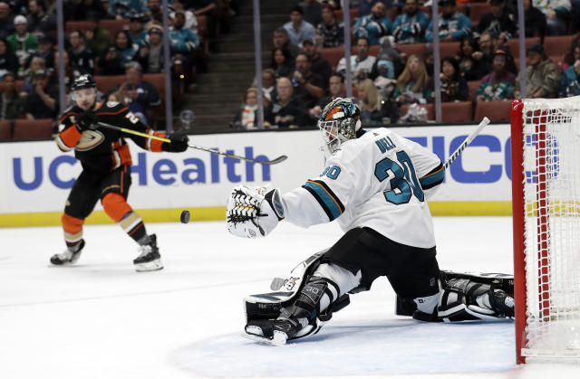 San Jose Sharks goaltender Aaron Dell stops a shot on goal against the Anaheim Ducks during the second period of an NHL hockey game Friday, March 22, 2019, in Anaheim, Calif. (AP Photo/Marcio Jose Sanchez)