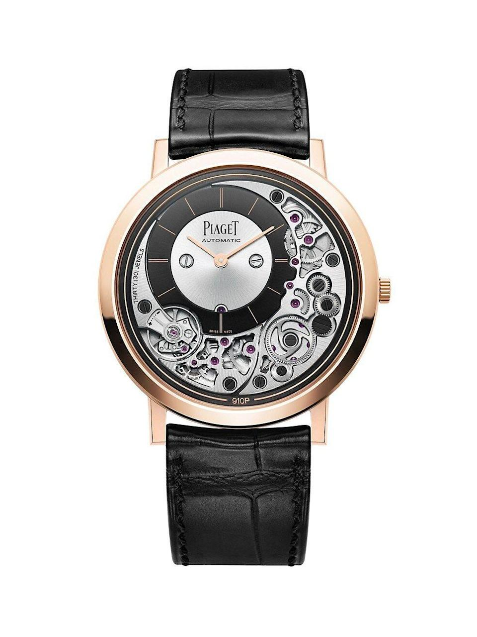 """<p><strong>Piaget</strong></p><p>saksfifthavenue.com</p><p><strong>$29800.00</strong></p><p><a href=""""https://go.redirectingat.com?id=74968X1596630&url=https%3A%2F%2Fwww.saksfifthavenue.com%2Fproduct%2Fpiaget-altiplano-18k-rose-gold-alligator-strap-watch-0400099178872.html&sref=https%3A%2F%2Fwww.townandcountrymag.com%2Fstyle%2Fjewelry-and-watches%2Fg14418271%2Fbest-mens-luxury-watches%2F"""" rel=""""nofollow noopener"""" target=""""_blank"""" data-ylk=""""slk:Shop Now"""" class=""""link rapid-noclick-resp"""">Shop Now</a></p><p>Billed as one of the world's thinnest automatic watch, this slender hand-wound 18k rose gold watch measures just 4.30mm thick.</p><p>Case size: 41mm</p>"""
