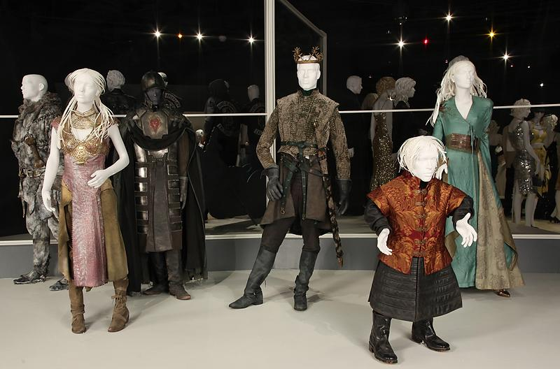 """In this publicity photo provided by Fashion Institute of Design & Merchandising, costumes from the TV show, """"Game of Thrones,"""" are shown in the exhibit """"The Outstanding Art of Television Costume Design"""" at FIDM in Los Angeles. """"Game of Thrones"""" is nominated for 2012 Emmy® for Outstanding Costume Design by Costume Designer, Michele Clapton, Assistant Costume Designer, Alexander Fordham and Assistant Costume Designer, Chloe Aubry. The exhibition runs from July 31 through October 20, 2012.(AP Photo/FIDM, Alex J. Berliner)"""