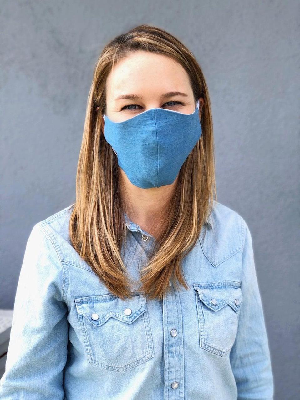 <p>For every one <span>Look Good Do Good Chambray Mask</span> ($22) bought, two are donated to at-risk patients and healthcare workers in need. They are made with chambray cotton and are machine washable.</p>