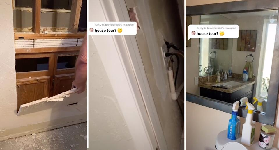 tik tok video of a home being renovated