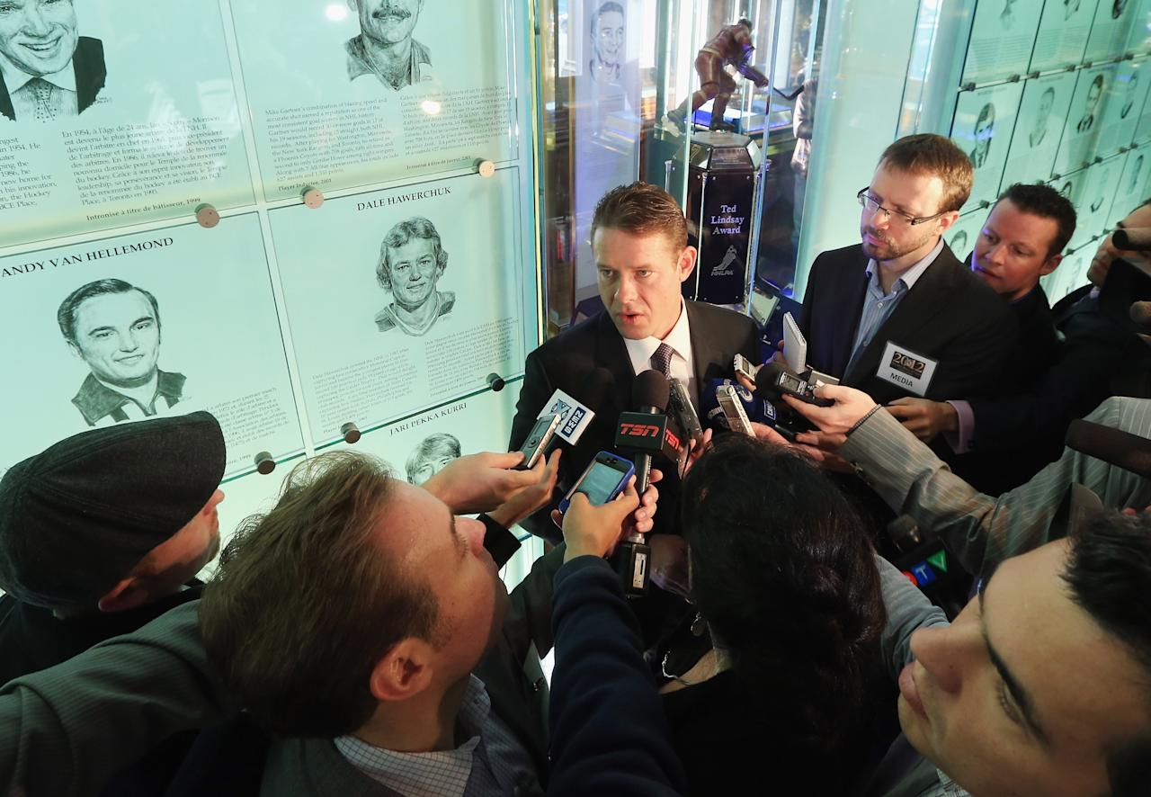 TORONTO, ON - NOVEMBER 12:  Pavel Bure takes part in a press conference at the Hockey Hall of Fame on November 12, 2012 in Toronto, Canada. Bure and three other former NHL players will be inducted into the Hall during a ceremony later today.  (Photo by Bruce Bennett/Getty Images)